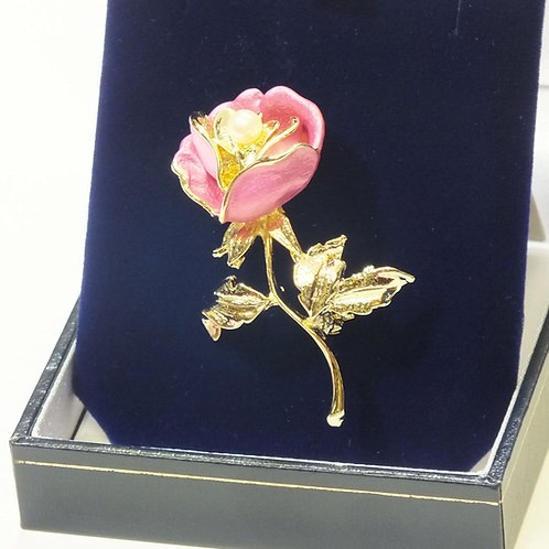 Pink Flower with Pearl Brooch & Gold Plated Stem with Leaves
