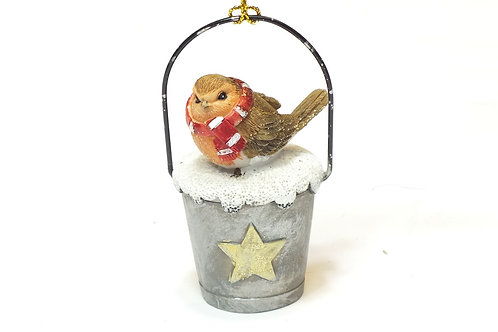 Resin Robin in Tin Bucket Decoration