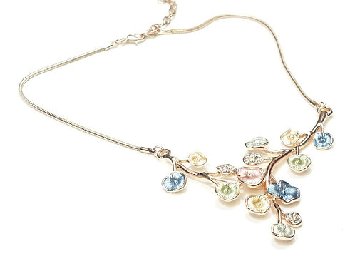 Rose Gold Multi Coloured Flower Necklace and CZ