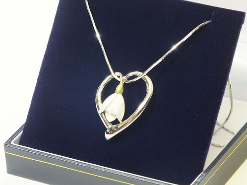 Rhodium Heart with Snow Drop Necklace
