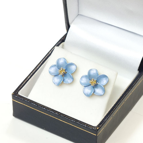 Pierced Stud Earring with Enamel Cornflower Blue Flower and Gold plated detail