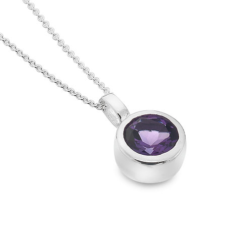 Sterling Silver Pendant and chain Round Facetted Amethyst