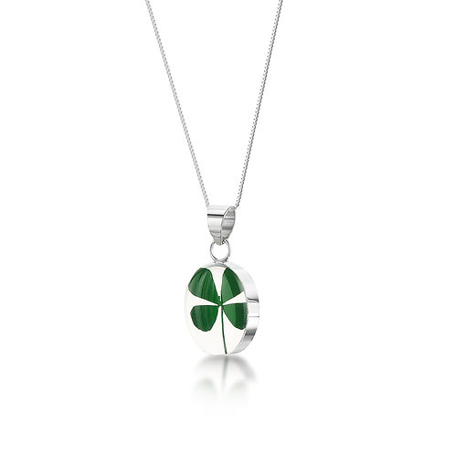 Silver Pendant - Four Leaf Clover - Oval
