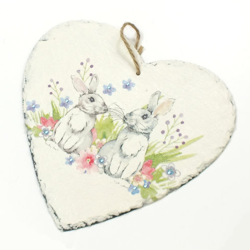 Twin Bunnies, Heart Slate