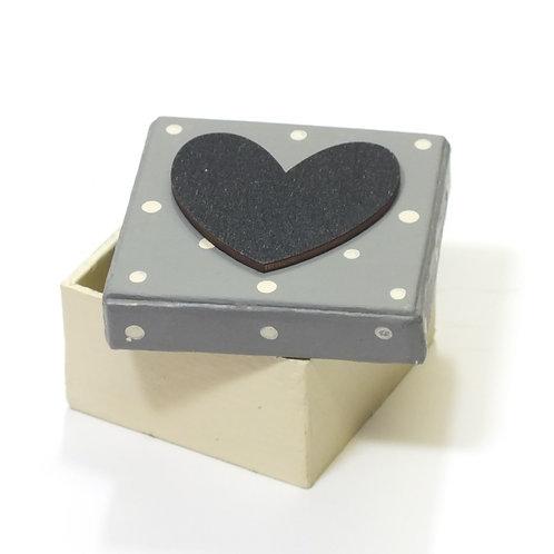 Dotty Grey Box-Black heart