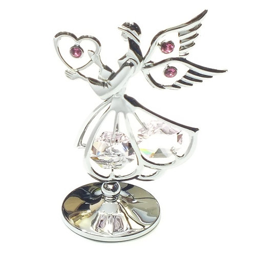 Crystocraft Standing Mini Sacred Angel with Heart & Crystals