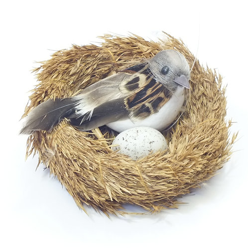 Grass Nest With Feathered Bird/Eggs On Clip Decoration