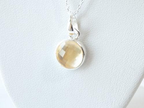 "Semi Precious Stone Necklace 16-18"" SS Chain -Nov-Citrine/Lemon Quartz"