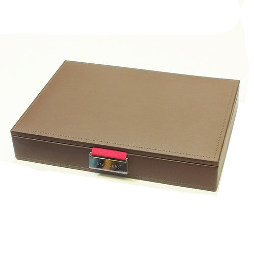 Classic Brown Lidded Stacker With Hot Pink Lining