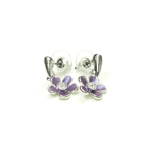 Small Flower Drop Piered Earrings in White/Grey/Black/Mauve