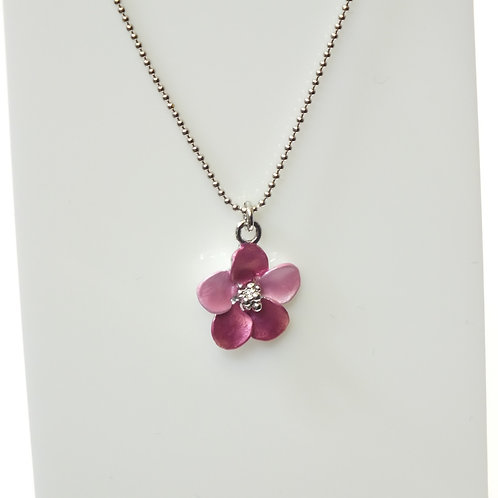 Hot Pink Flower Necklace with Rhodium plated detail