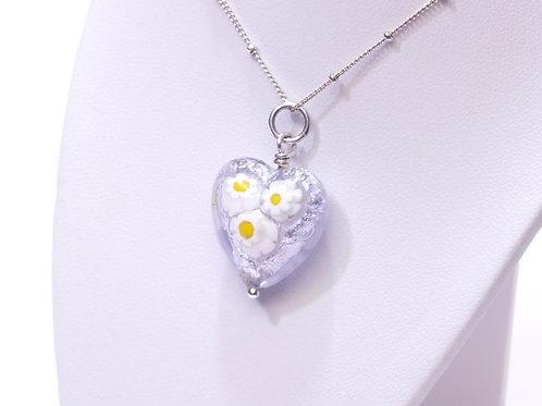 Three Daisy Murano Heart Pendant
