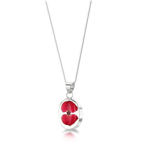 Sterling Silver Pendant - Poppy - Oval