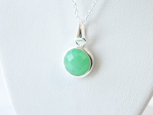"""Semi Precious Stone Necklace 16-18"""" SS Chain - Jun - Pearl/Chrysoprase"""