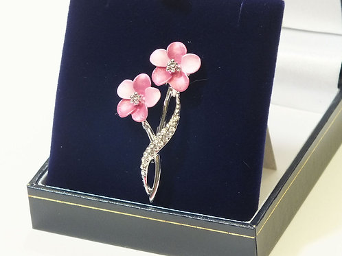 Beautiful Pink Enamel Flowers and CZ   Brooch