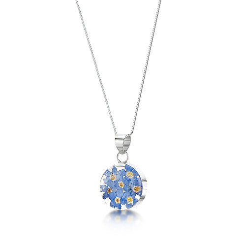 Silver Pendant - Forget Me Not - Med Round