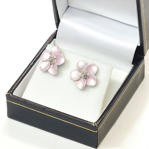 Pierced Stud Earring with  Enamel Baby Pink Flower and Rhodium  plated detail