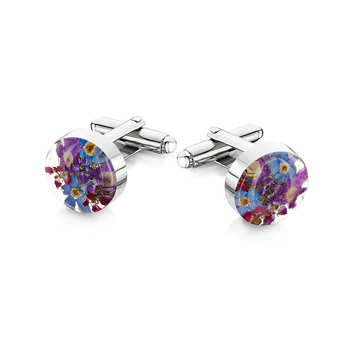 Sterling Silver Cufflinks with Purple haze Flowers