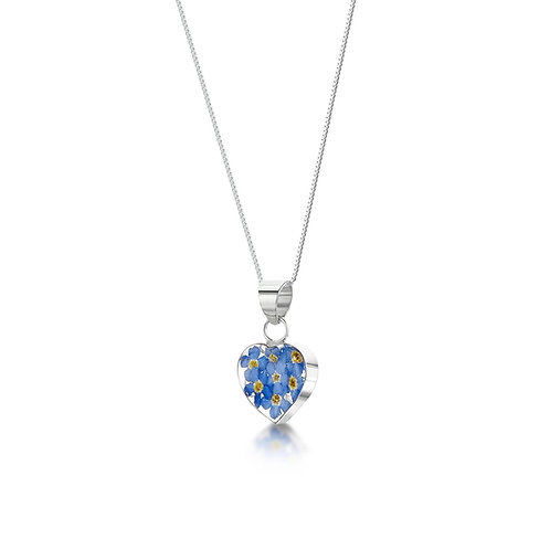 Sterling Silver Pendant - Forget me not - small Heart
