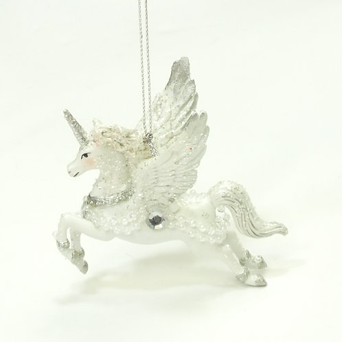 White Flying Resin Unicorn Decoration