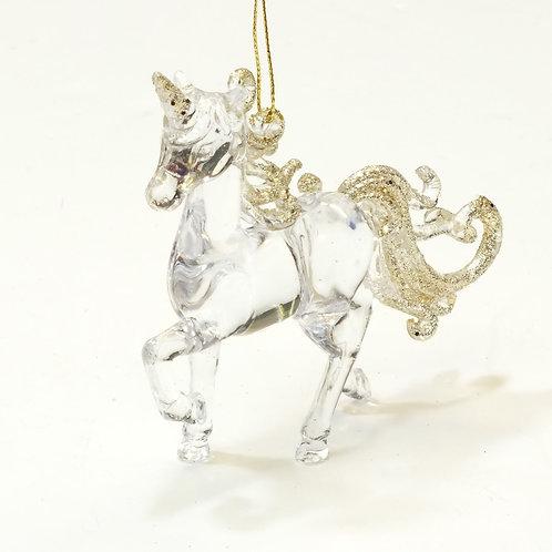 Clear/Gold Glitter Acrylic Unicorn Decoration
