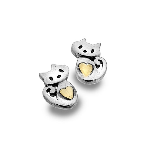 Sterling Silver Stud Earrings Cute Kitten+Brass Heart