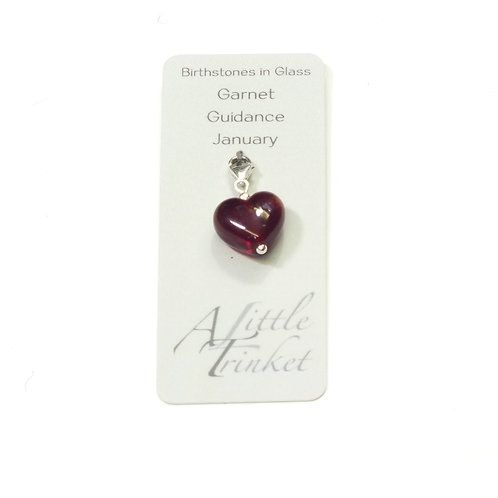 Birthstones in Glass - Cora Heart Clip on Charms - Garnet - January