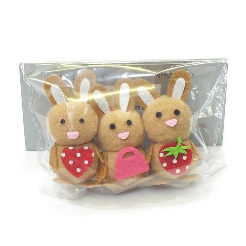 Brown Wool Mini Bunny Pack of 3