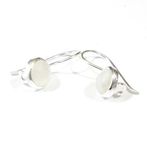 Semi Precious Stone Drop Earrings SS - Apr-Sapphire/Rainbow Moonstone