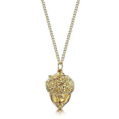 Gold Plated Leaf Necklace - Acorn