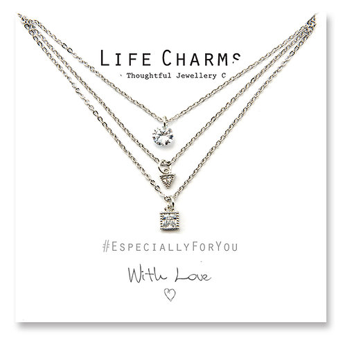 3 Layer  Silver Crystal cascade Necklace