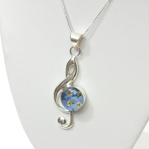 Sterling Silver Pendant -Forget me not- Medium Treble Clef