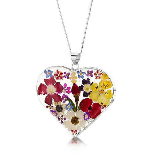 Large Heart Mixed Flower Sterling Silver Pendant Plus Chain