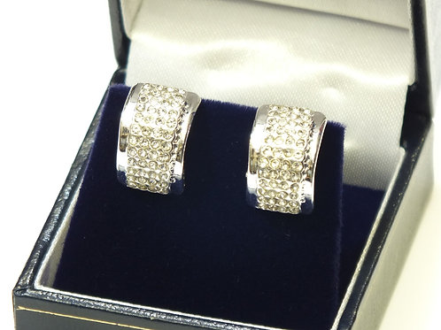 CZ Rhodium Barrel Earrings