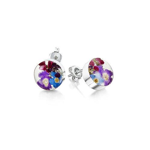 Sterling Silver Stud Earrings - Purple Haze - Round