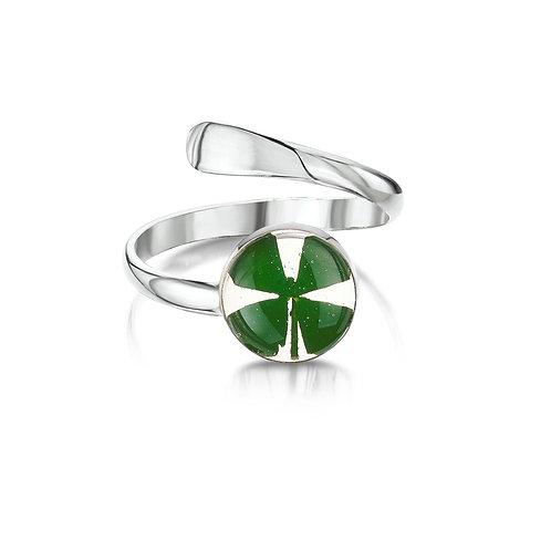 Silver Ring (Adjustable) - Four leaf clover - Round