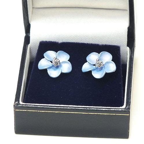 Rhodium Flower clip on earrings ,Cornflower