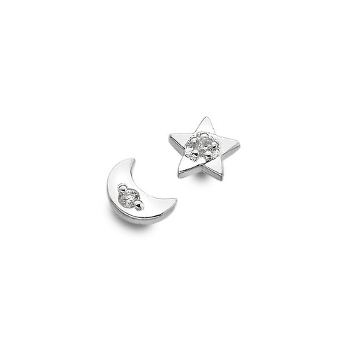 Sterling silver Stud Earrings in Moon and Star with CZ's