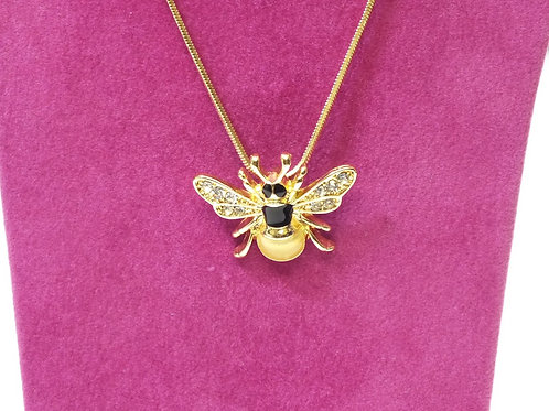 Yellow Gold plated Bee Necklace with CZs