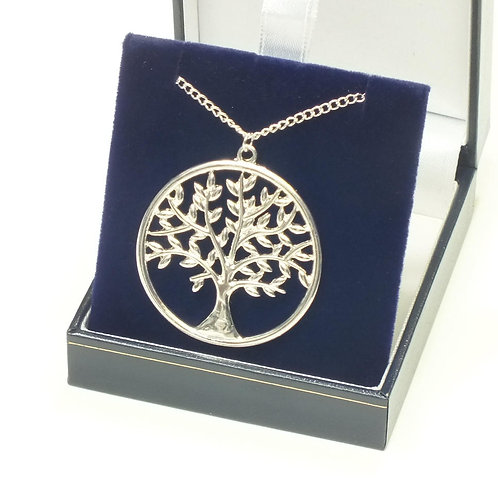 Tree of Life Long Necklace, Rhodium