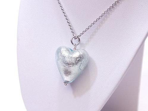 Aqua/Grey Murano Heart Pendant