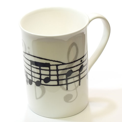 Grey Music Notes Bone China Mug