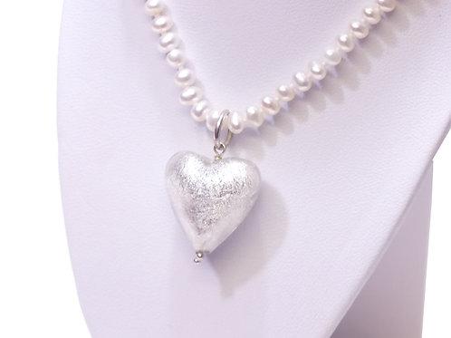 Silver/White Murano Glass Heart White Pearl Necklace