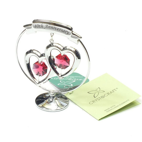 Crystocraft Chrome Plated Circle 2 Hearts - 40th Anniversary
