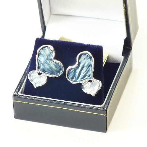 Rhodium Blue and Sea Green Enamel Heart Earrings