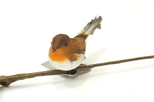 Feather Robin On Clip Decoration
