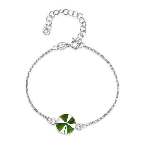 Sterling silver snake bracelet - Round charm - Clover