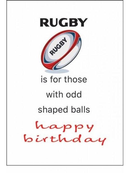 RUGBY...ODD BALLS HAPPY BIRTHDAY CARDS