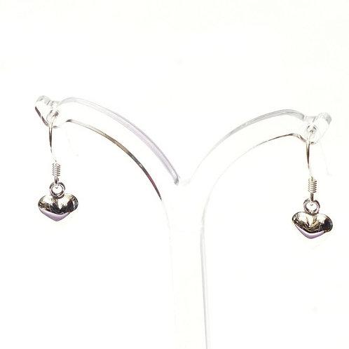 Silver Puff Heart earrings