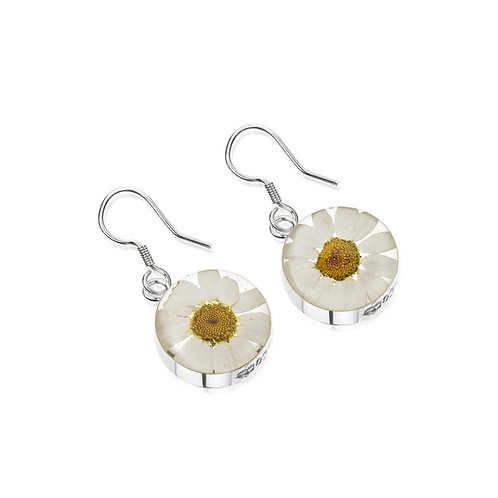 Silver Earrings (drop) - Daisy -White
